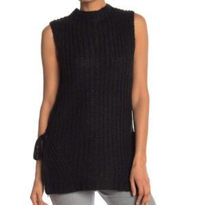 BCBGeneration Mock Neck Sleeveless Tie Sweater